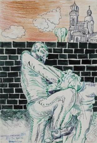 """Cykl 63 """"Do końca"""", """"Kolano"""", 1973, tusz ikredka, 48×33 cm"""