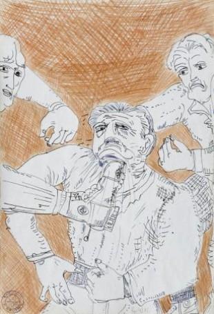 """Cykl 63 """"Do końca"""", Bez tytułu, 1973, tusz ikredka, 48×33 cm"""