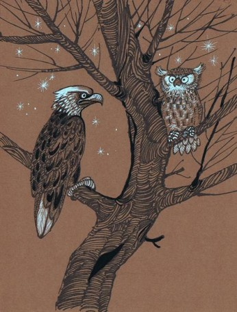 Untitled (Eagle and owl), illustration