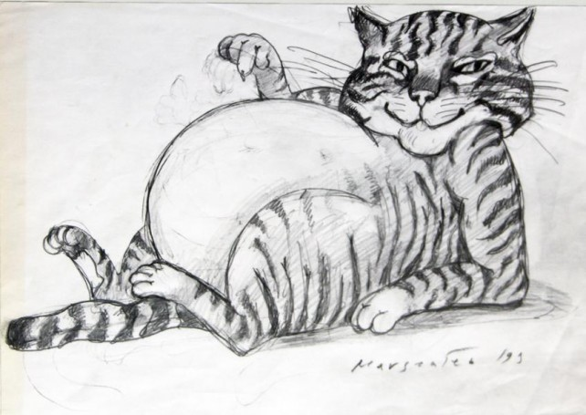Cat in black and white, 1999