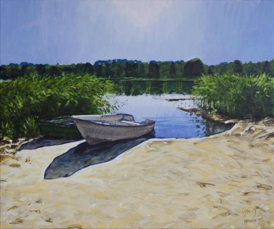 """""""Gubity-łodzie II, późne słońce"""", acryl, płótno, 2012"""