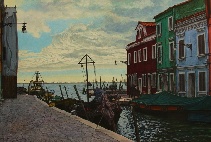 Burano - The Barge With A Green Tarpaulin, 2014