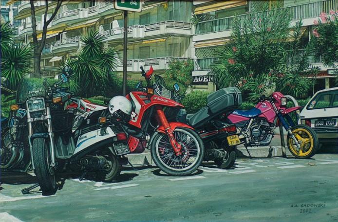 Cannes -Boulevard de la Croisette -parking motocyklowy, 2002 r.
