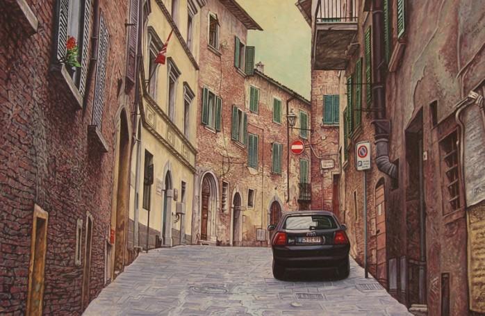 Montepulciano -uliczka zgranatowym Audi, 2012 r.
