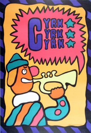 Cyrk: clown ztrąbką, 1969 r.
