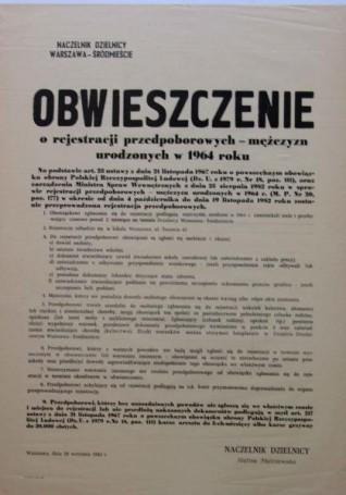 Obwieszczenie orejestracji przedpoborowych
