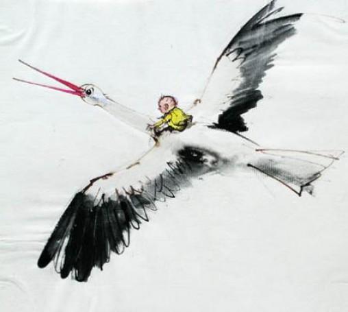 Janusz Grabiański, Bez tytułu (Chłopiec na bocianie))