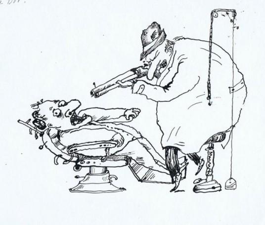 Jacek Gawłowski, Bez tytułu (Dentysta), rysunek satyryczny