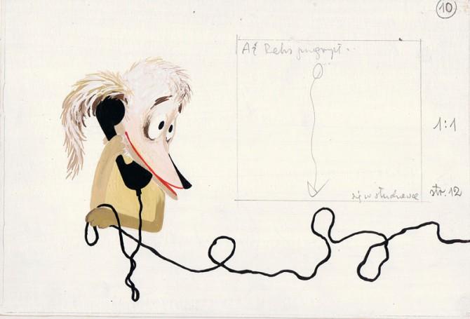 """""""O piesku, który uciekł zbudką telefoniczną"""", ilustracja do książki Syrovátka Oldřich, około 1970 r."""