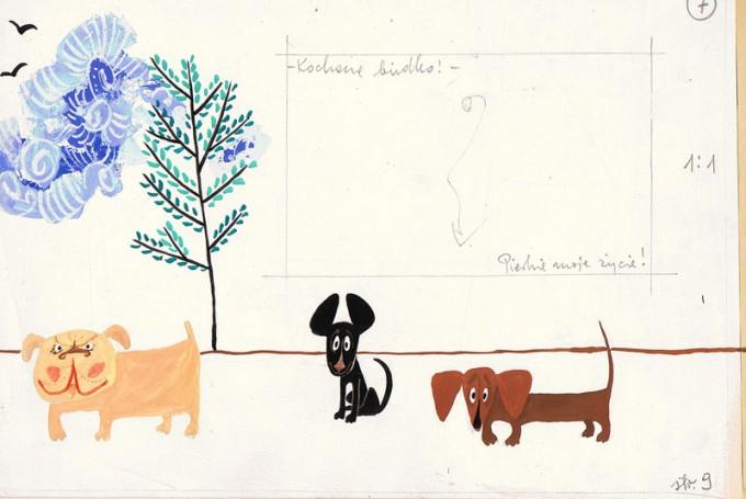 """""""O piesku, który uciekł zbudką telefoniczna"""", ilustracja do książki Syrovátka Oldřich, około 1970 r."""