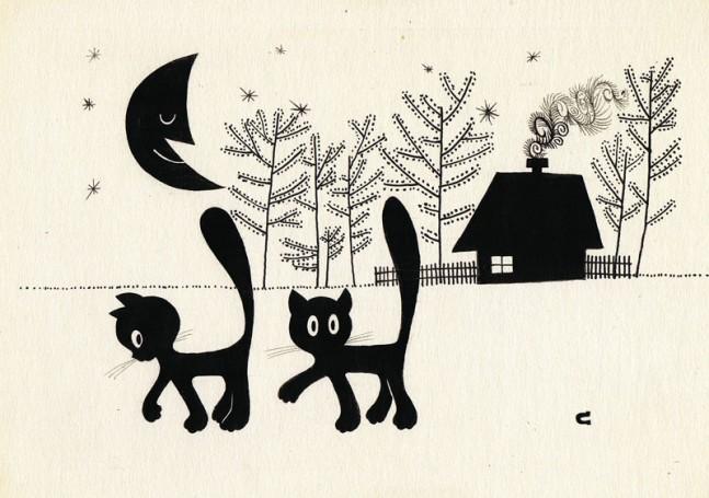 """""""Dziwne zdarzenie"""", ilustracja do książki Wandy Grodzieńskiej"""