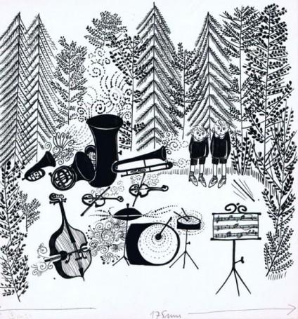"""""""Niewidzialna orkiestra"""", ilustracja do książki F. Friedricha"""