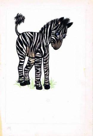 """Zebra, ilustracja do książki """"Zwierzęta Pana Brzechwy"""""""