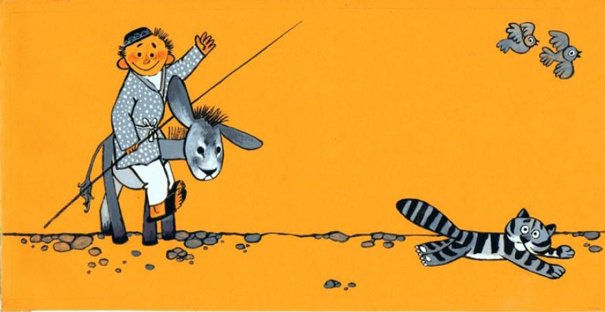 """""""Oj tato, co robisz?"""", ilustracja do książki Zdzisława Nowaka"""