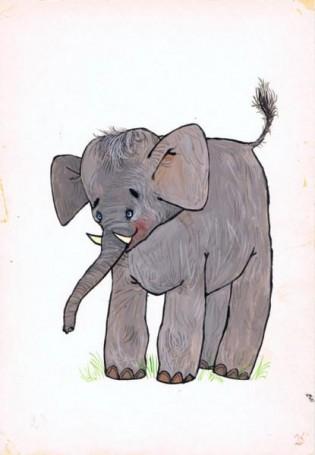 """Słoń, ilustracja do książki """"Zwierzęta Pana Brzechwy"""""""