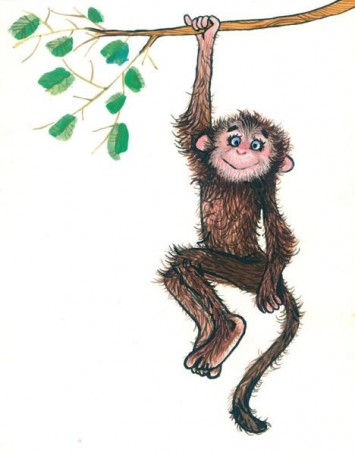 """Małpka, """"Zwierzęta Pana Brzechwy"""", ilustracja do książki Jana Brzechwy"""