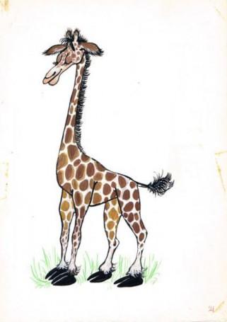 """Mirosław Pokora, Żyrafa, ilustracja do książki """"Zwierzęta Pana Brzechwy"""", 100 Pomysłów na prezent dla DZIECKA"""