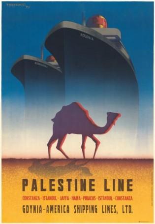 Tadeusz Trepkowski, Palestine Line Gdynia -America Shipping Lines, LTD., 2019 r., Reprinty Polska Szkoła Plakatu