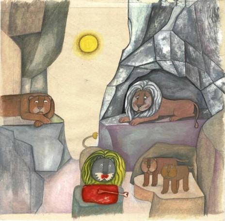 O lwie, który lubił tylko truskawki, ilustracja do książki C. Aveline