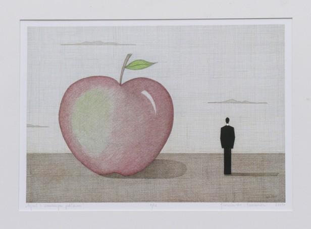 Pejzaż zczerwonym jabłkiem, 2019