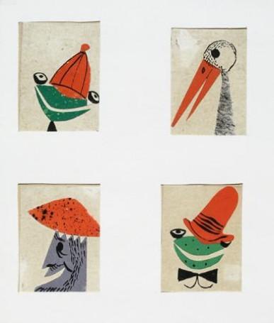 Ilustracja: Ożabkach wczerwonych czapkach