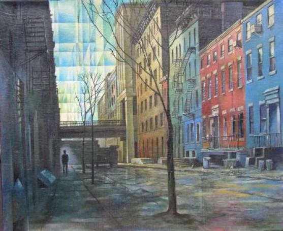 Henryk Waniek Manhattan 2001,olej, płótno, 73x60cm