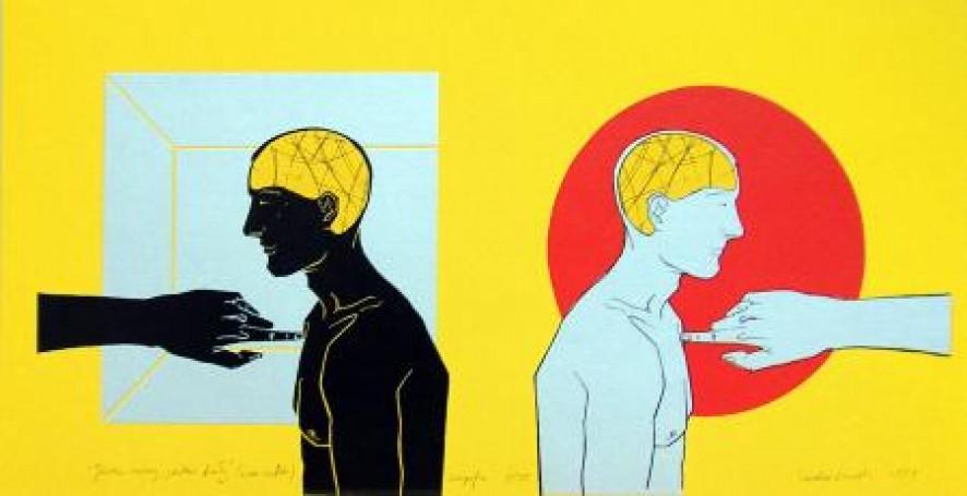 Durski Teodor Jestem czarny, jestem biały, 2004, serigrafia, 25x50cm, 400 PLN