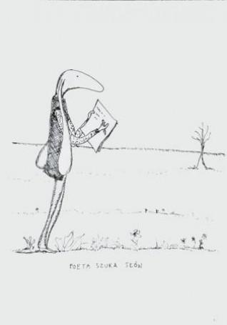 Poeta szuka słów, 2004 r., ilustracja do książki: Macieja Wojtyszki