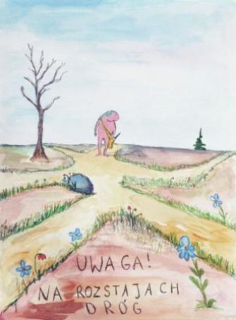 Uwaga! Na rozstajach dróg, ilustracja do książki: Macieja Wojtyszki