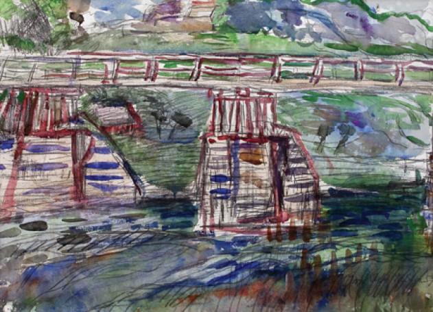 Krajobraz zeStarego Sącza, VIII Most na Popradzie, 1957 r.
