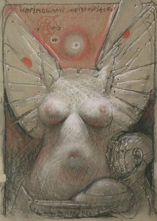Obejmowanie nieistniejącej, 1707, rysunek, tektura, 85,5x61cm