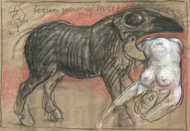 Bezsens zwierzęcej huci, 1707, rysunek, tektura, 76x109,5cm