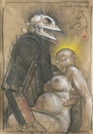 Czułość potwora, 1707, rysunek, tektura, 73x51cm