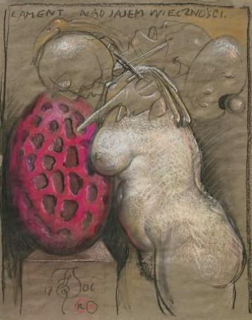 Lament nad jajem wieczności, 1707, rysunek, tektura, 87x69 cm