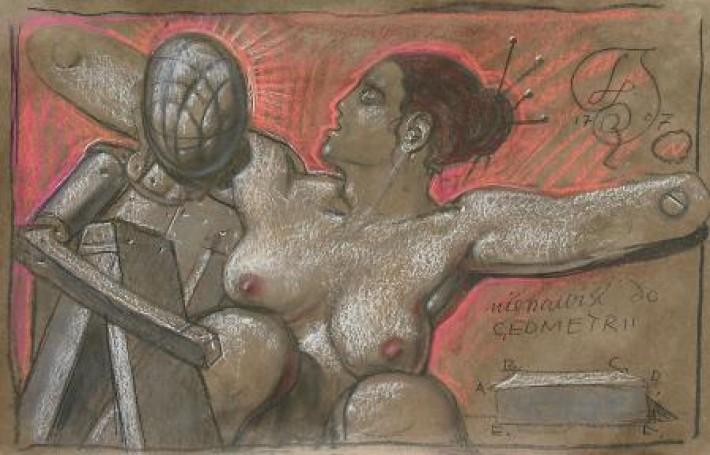 Nienawiść do geometrii, 1707, rysunek, tektura, 49x73 cm