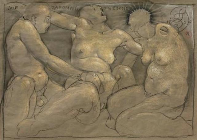 Nie zapomnij oniebycie, 1707, rysunek, tektura, 78,5x100 cm