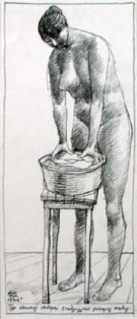 Typ dawnej chłopki tradycyjnie piorącej nahy, 1994 r.
