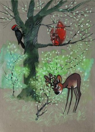 Illustration, published by Bambi. Forest story