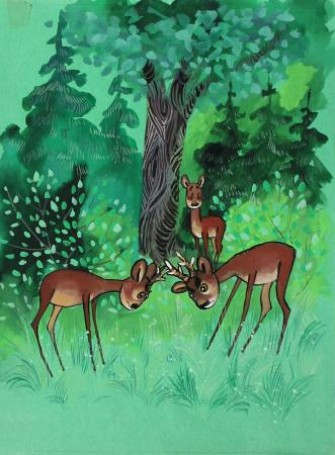 Illustration, published by Bambi. Forest story.