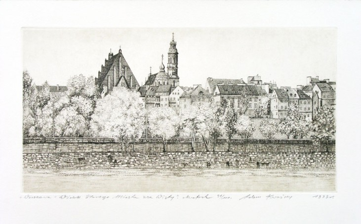 Warsaw -View of the Old Town from the other side of the Vistula River, 1999