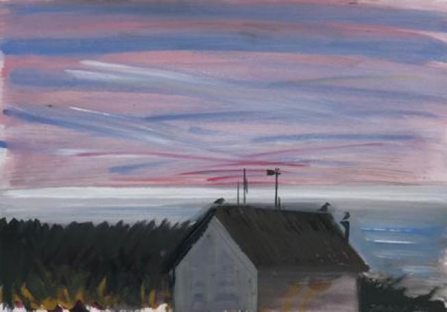 Ustka -dom na brzegu, 2009, tempera, tektura, 35x50cm