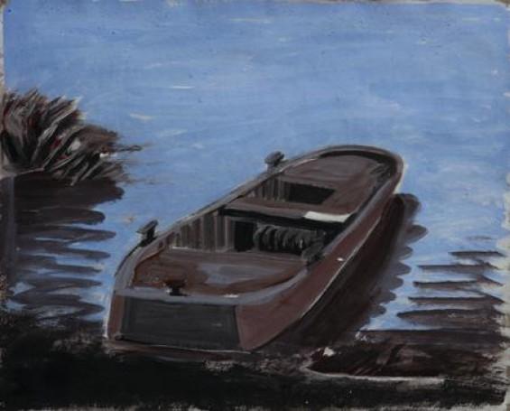 Stara barka, 2006, tempera, tektura, 40x50cm