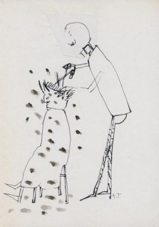 Fryzjer, rysunek, papier, 30x21cm