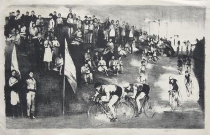 Wyścig Pokoju, lata 50 -te, litografia, papier, 31x51cm
