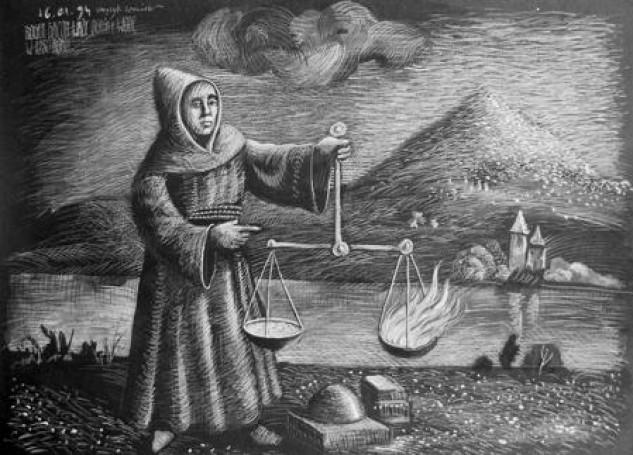 Roger Bacon waży ogień iwodę w1250 roku, 1994 r.