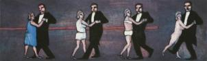 Cztery kroki taneczne by rozebrać kobietę, 2011, oil on canvas